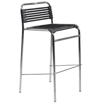 Bungie Flat Bar Stool-Black-Chrome