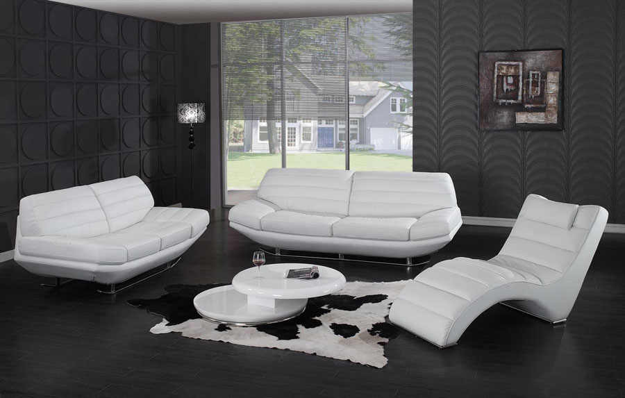 Sofa set white jaguar leather sofas for Modern black and white furniture