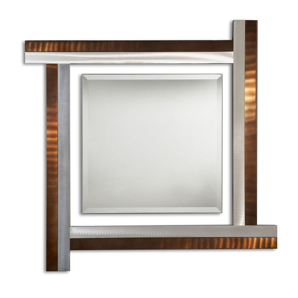 Together square decorative mirror root beer accent mirrors for Square mirror