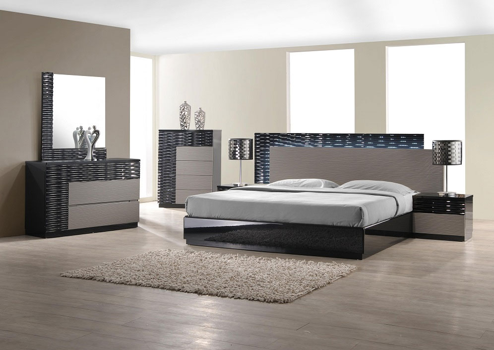 Modern bedroom set with led lighting system modern for Bedroom set with bed