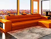 Orange Leather Sectional Polaris Mini