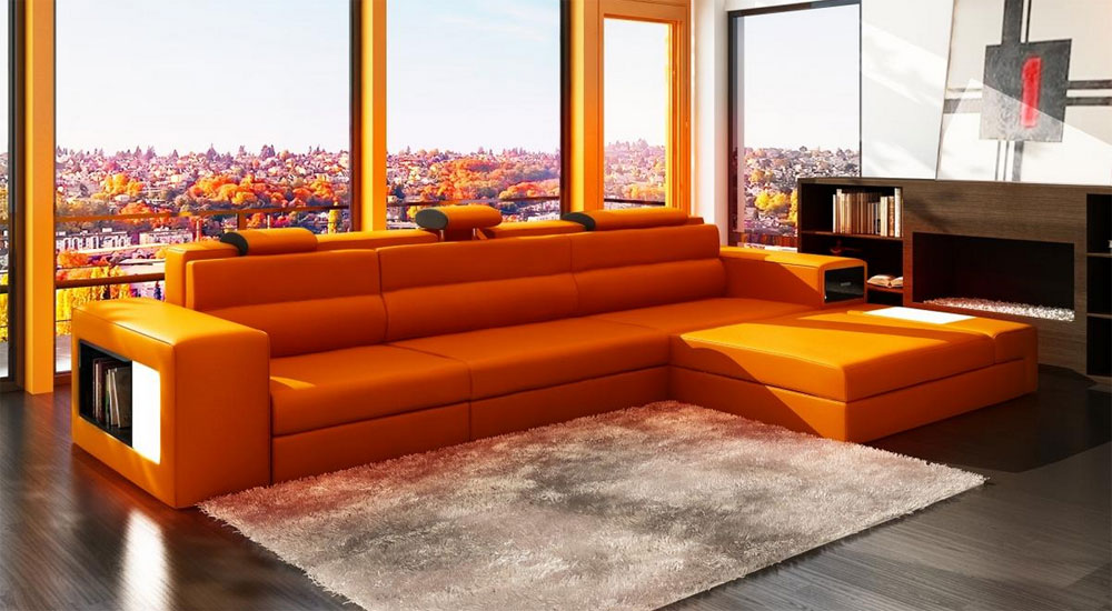 Orange Leather Sectional Polaris Mini Leather Sectionals