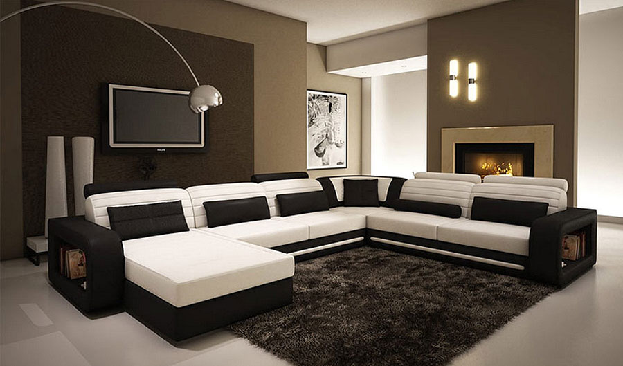 Alina Contemporary Black And White Leather Sectional Sofa Vg45