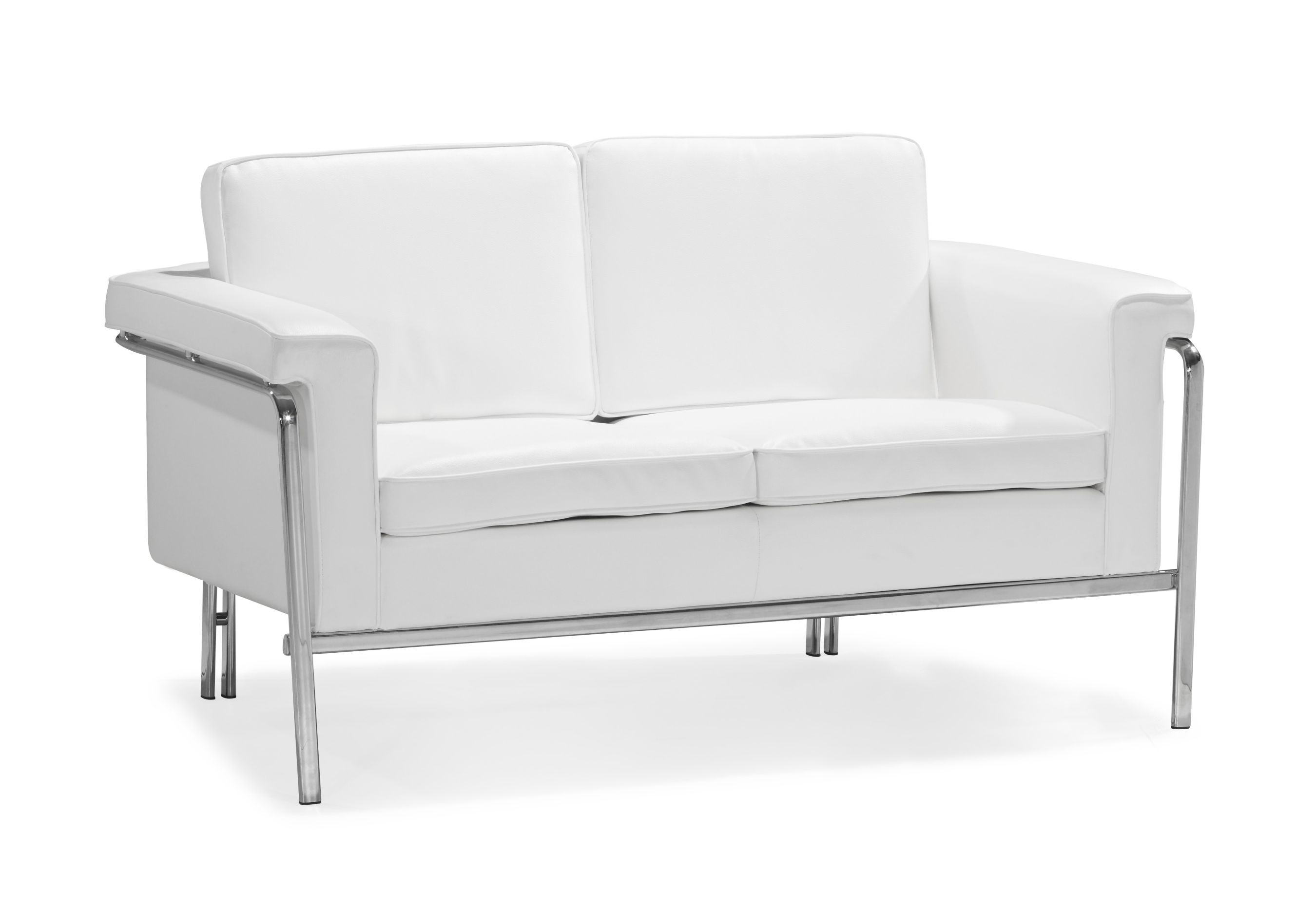 Modern white leatherette sofa set single leather sofas for Modern loveseat