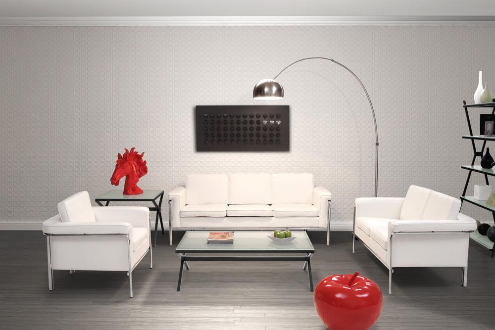 Modern White Leatherette Sofa Set Single | Leather Sofas