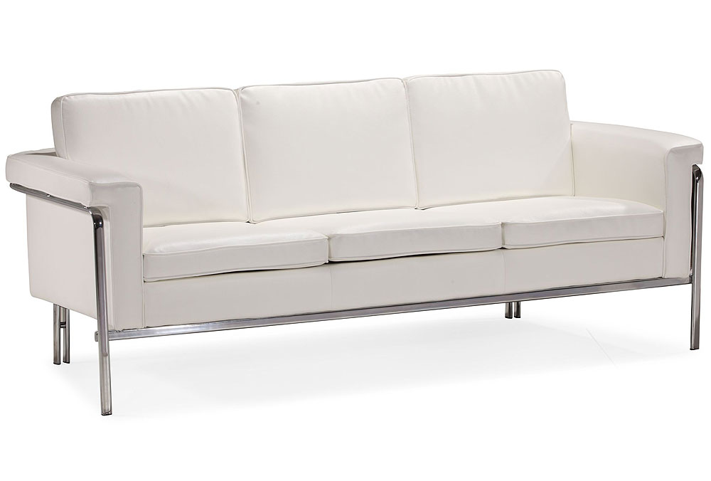 Modern White Leatherette Sofa Set Single | Leather Sofas