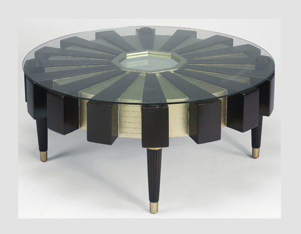 Gold Trim Coffee Table AR Contemporary - Glass coffee table with gold trim
