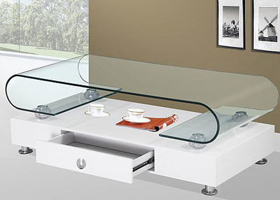 Modern white and glass coffee table BQ33 - Contemporary Coffee Tables San Francisco