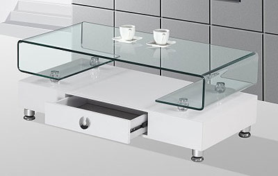 modern white and glass coffee table bq33 | contemporary