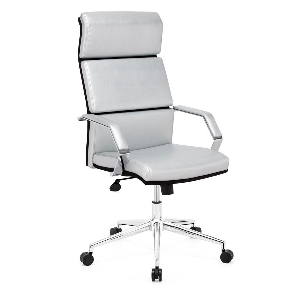 Stylish Silver Leatherette Office Chair Z 312 Office Chairs