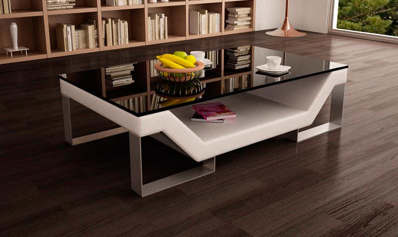 White Eco Leather Coffee Table With Gl Top Vg 31