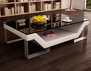 White Eco Leather Coffee Table with Glass Top VG 31