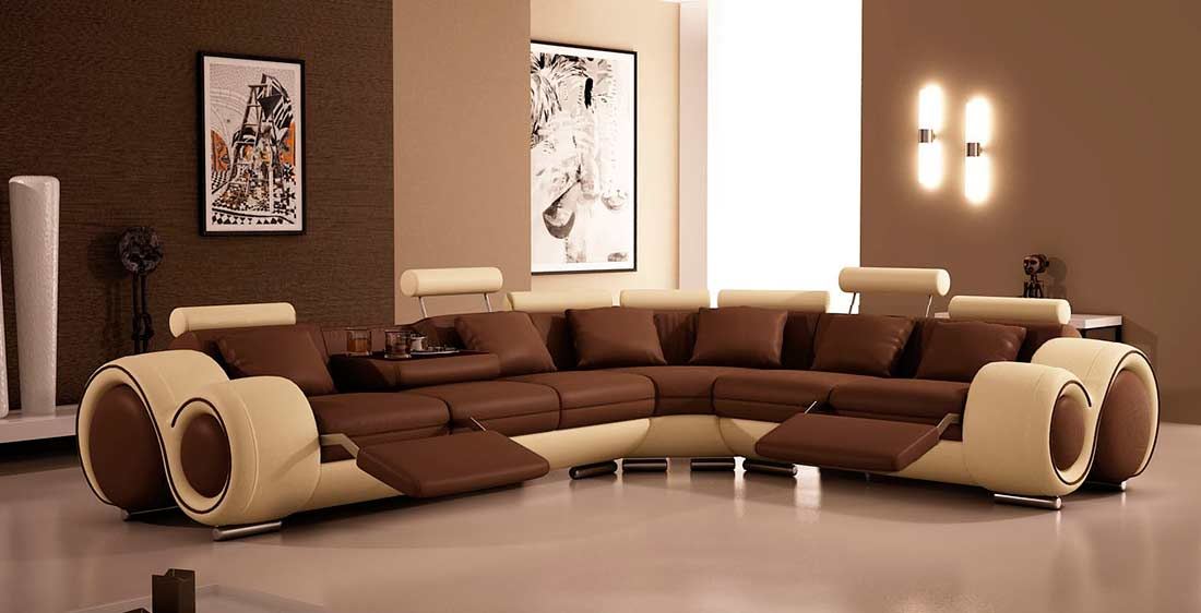 Modern Leather Sectional Sofa With Recliners VG87 | Leather ...