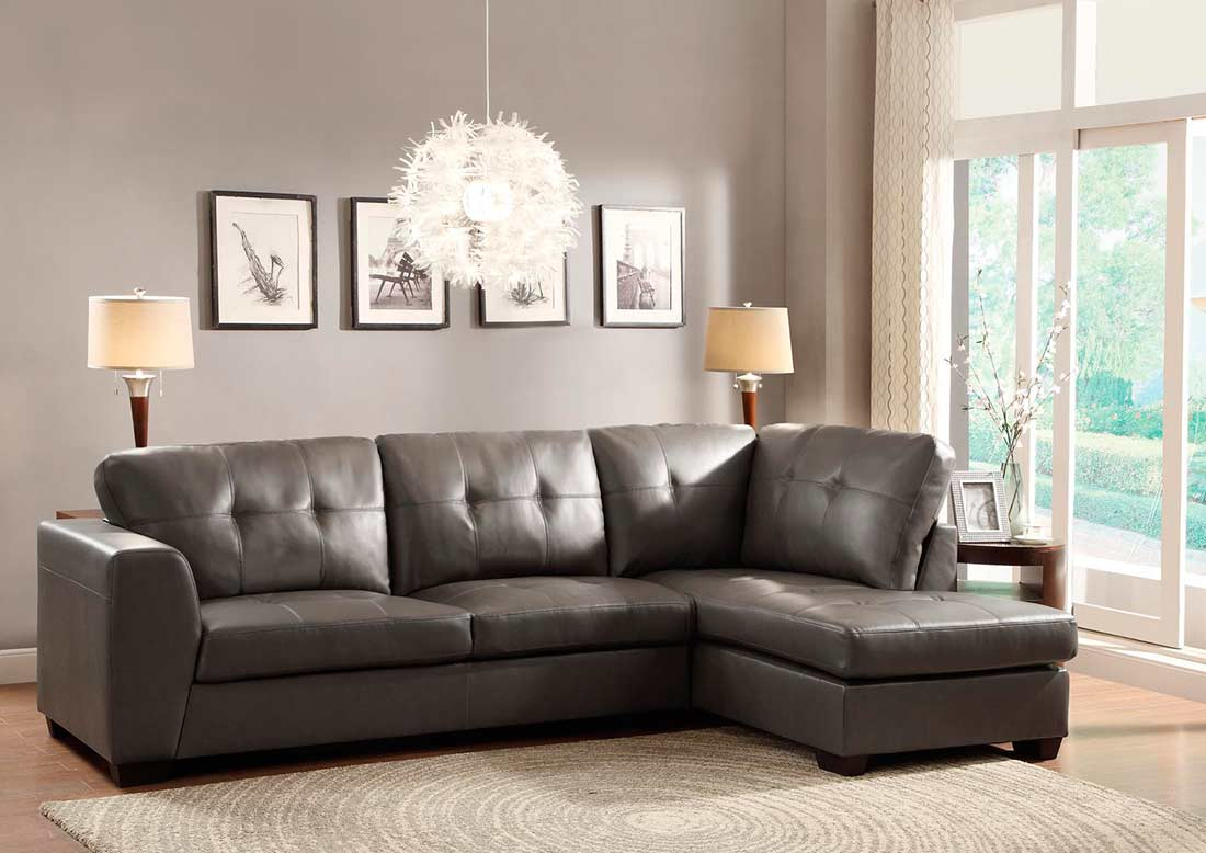 Sofa Sectional In Grey Eco Leather HE968 Sectionals