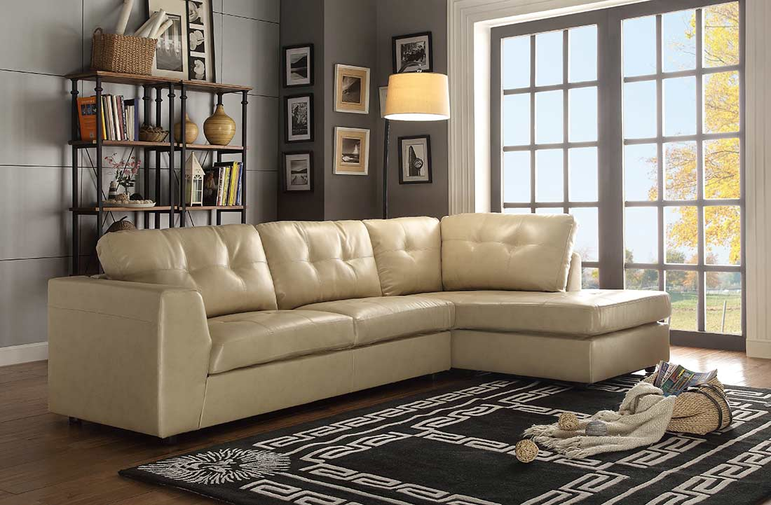Sofa sectional in Grey Eco Leather HE968 | Leather Sectionals