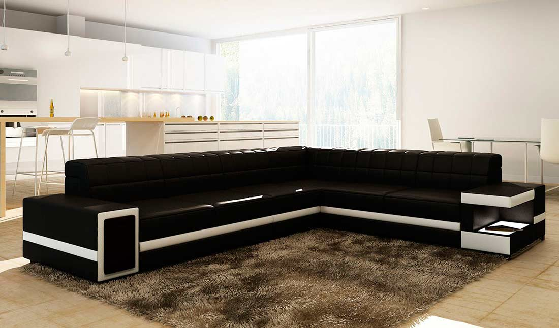 Modern Black Leather Sectional Sofa Vg106 Leather Sectionals