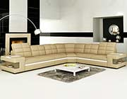 Beige and White leather sectional sofa VG131