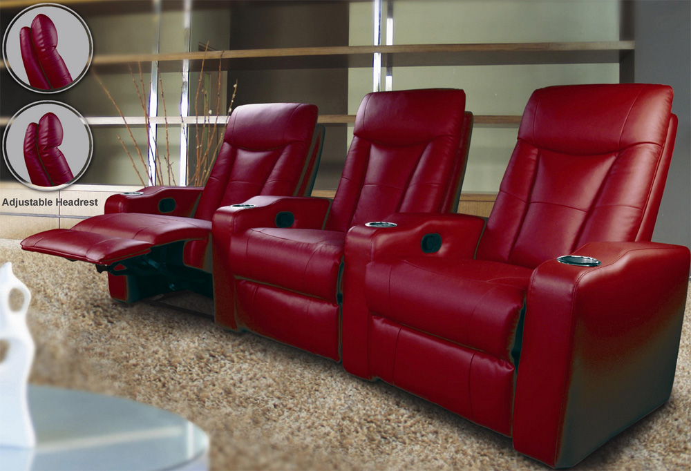 modern home theater unit with three recliners recliners
