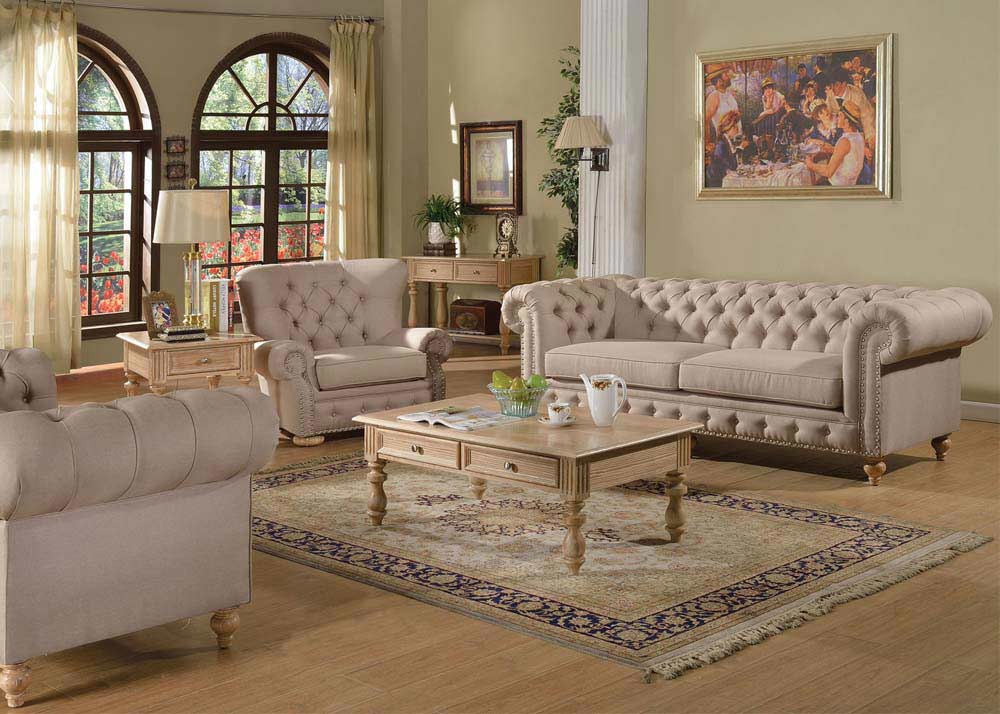 Living Room Furniture: Fabric Beige Sofa AC Semadara