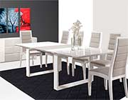 Extendible White Lacquer Dining table Nadine