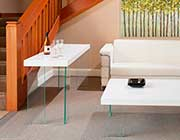 Contemporary Console table with Glass legs Carlo