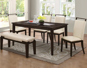 Contemporary Dining Table with Black Glass Center BM10