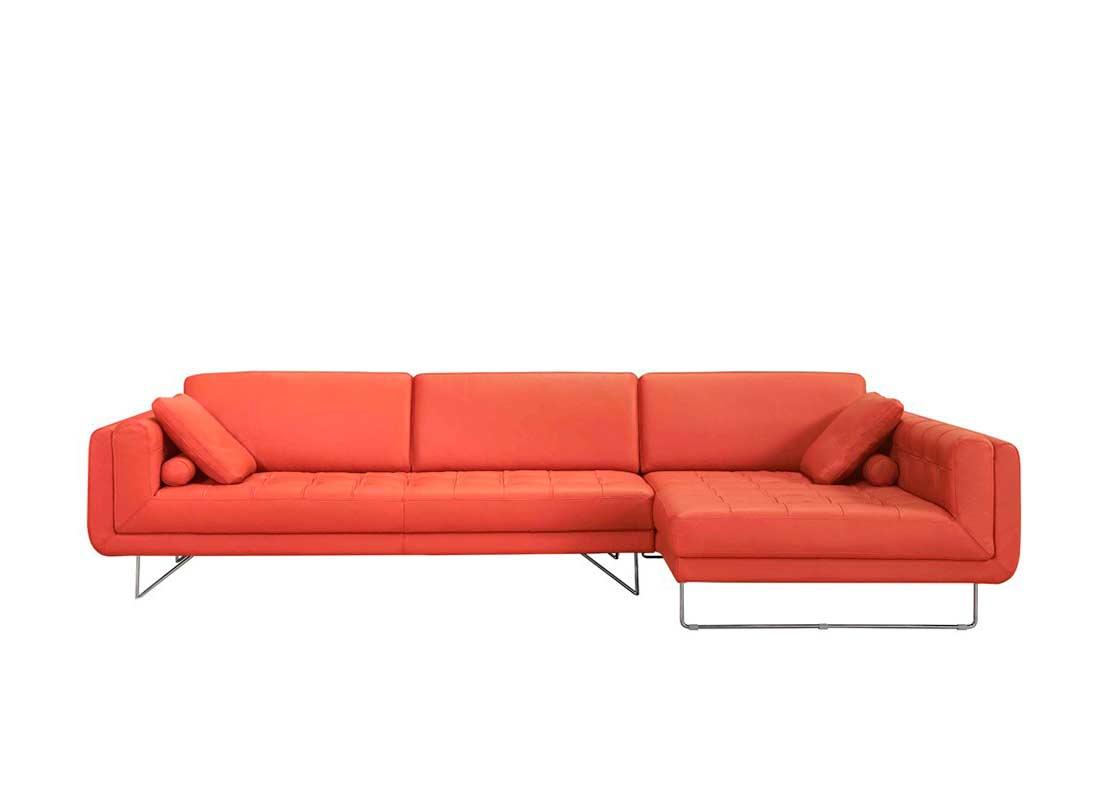 Orange Brick Leather Sectional Sofa Vg Katherine Leather