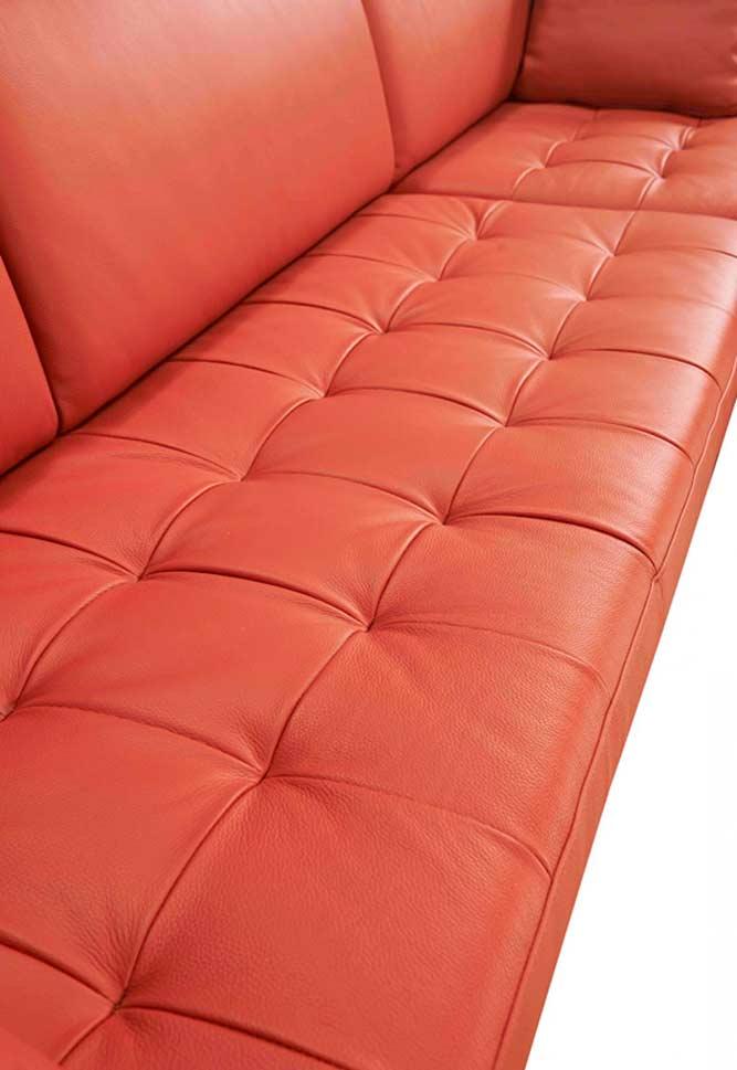 Orange Brick Leather Sectional sofa VG Katherine | Leather ...