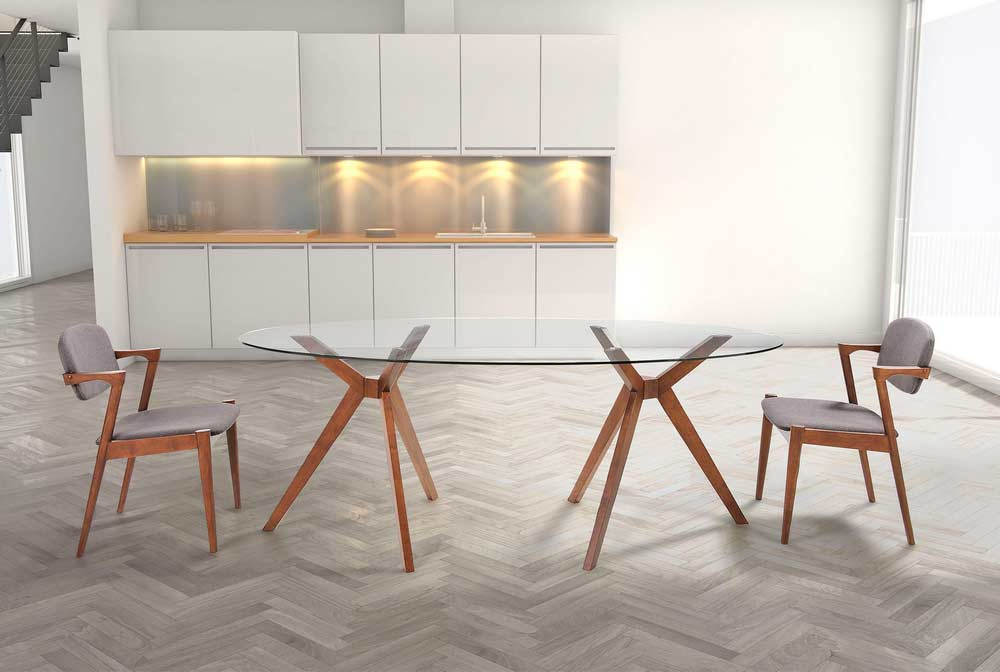 Oval Glass Dining Table Z090 Modern Dining