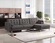 Grey Fabric Sectional Sofa Sleeper DS Copus