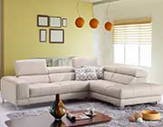 Light Grey Premium Leather Sectional Sofa J90