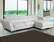 Mini Sparta White Leather Sectional Sofa
