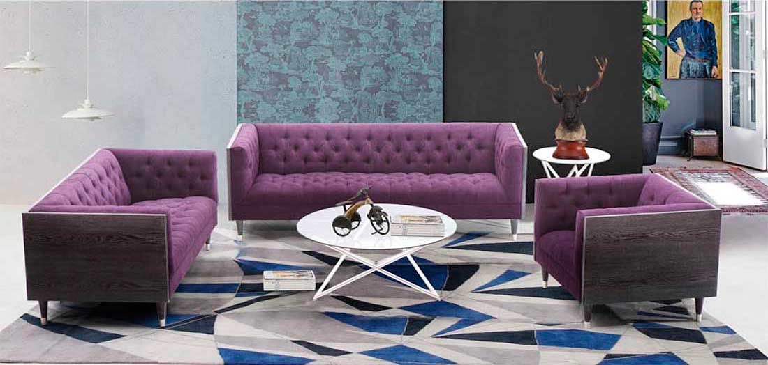 Modern Purple Sofa Arl Beartiz Fabric Sofas