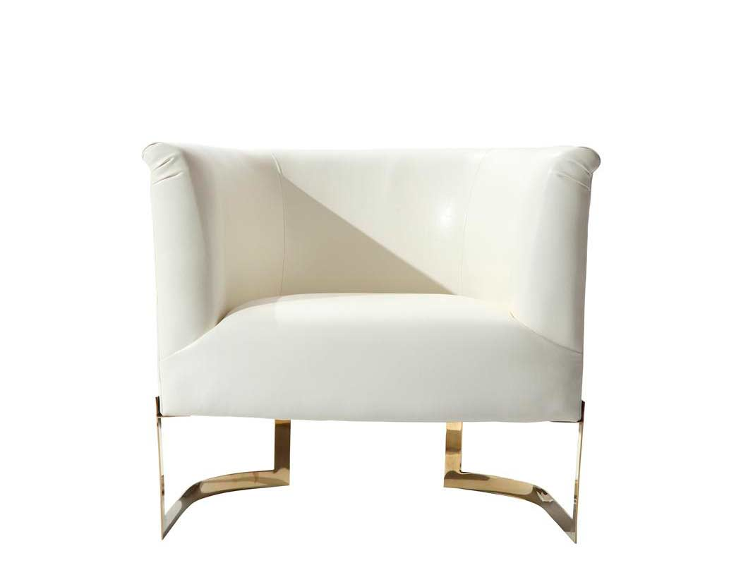 White leatherette accent chair arl ellie accent seating for Contemporary armchair