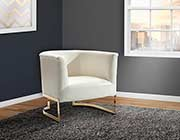 White Leatherette Accent Chair ArL Ellie