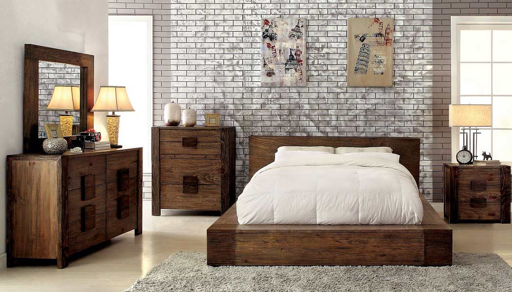 Low-profile Bed In Rustic Finish FA29
