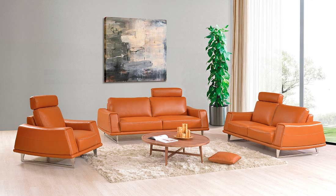 Modern Orange Leather Sofa EF531