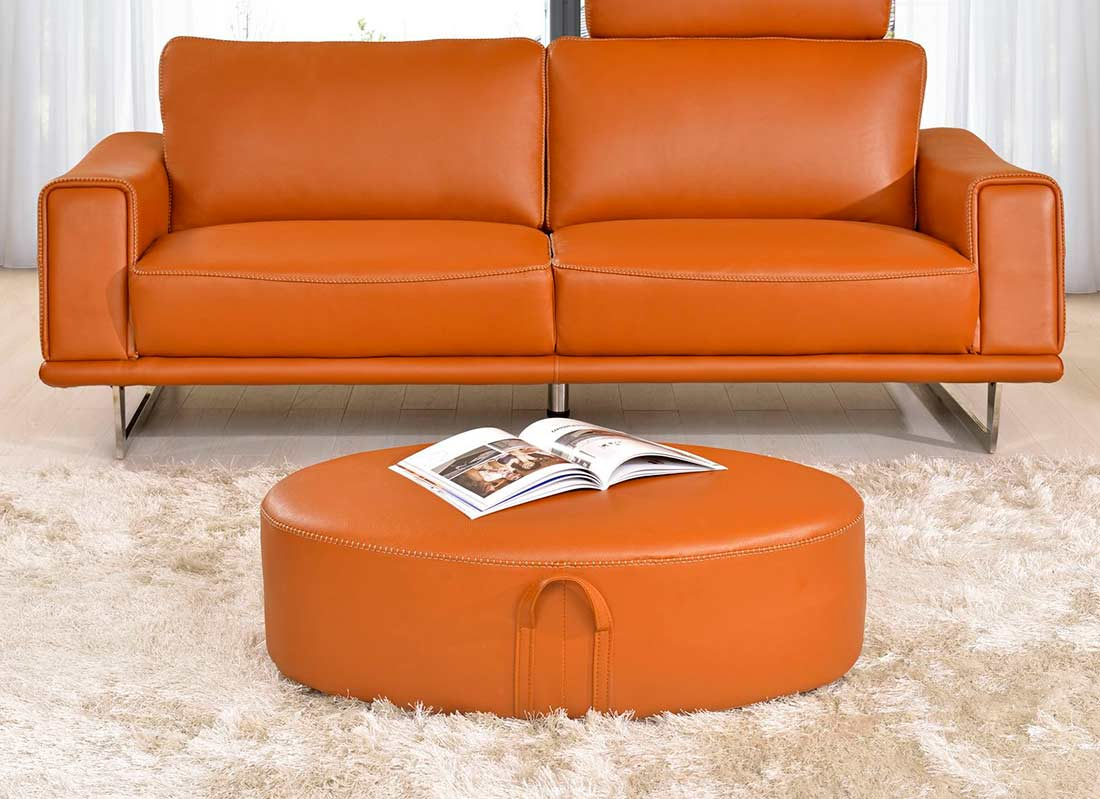 leather orange sofa cindy crawford home lusso papaya. Black Bedroom Furniture Sets. Home Design Ideas