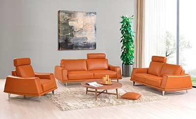 Modern Orange Leather Sofa EF531 | Leather Sofas