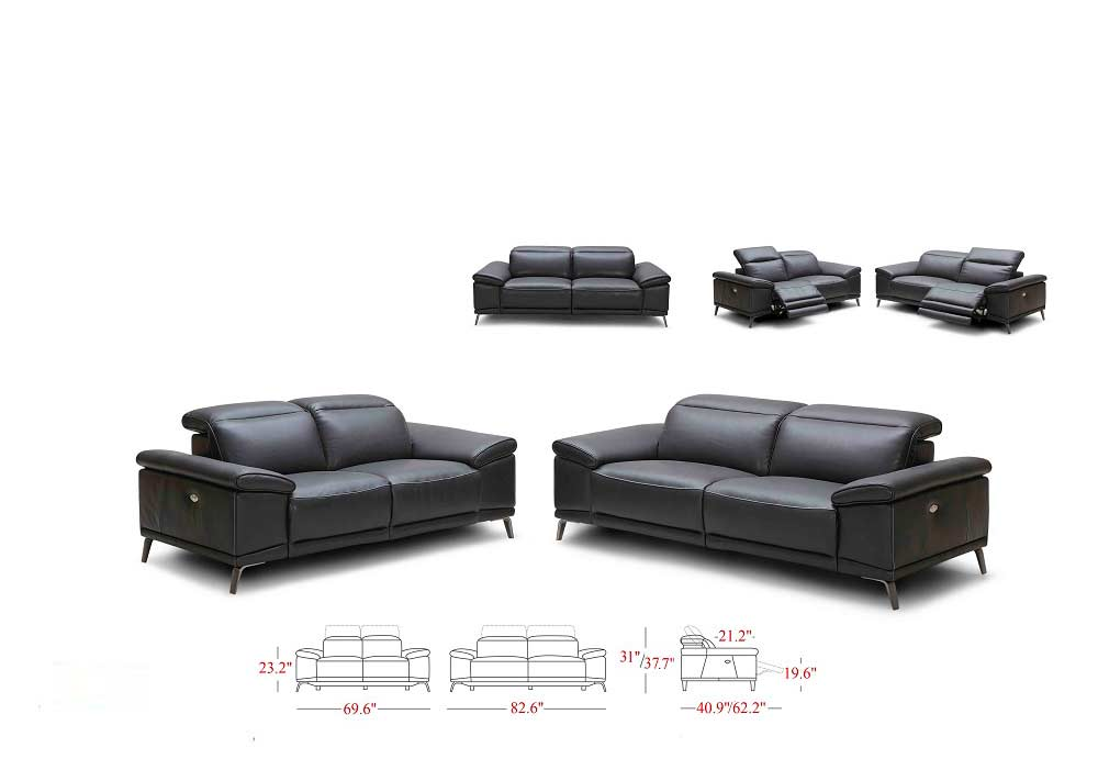 Power Recliner Italian Leather Sofa Set Nj Gisella Leather Sofas