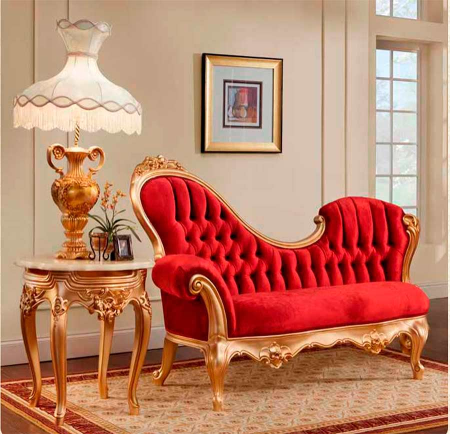 Red Velvet Chaise Lounge 756 Provincial