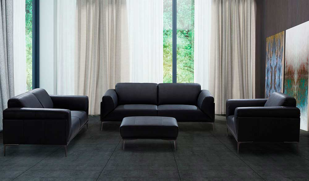 Black leather sofa NJ Davina | Leather Sofas