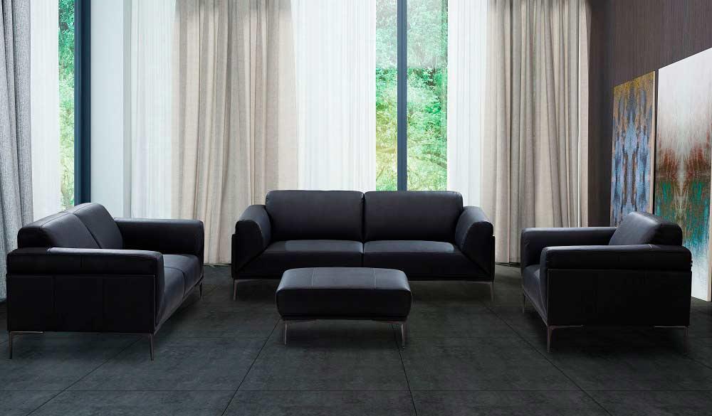 Black Leather Sofa Nj Davina
