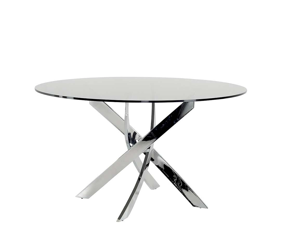 Smoked glass round dining table vg087 modern dining for Contemporary round dining table