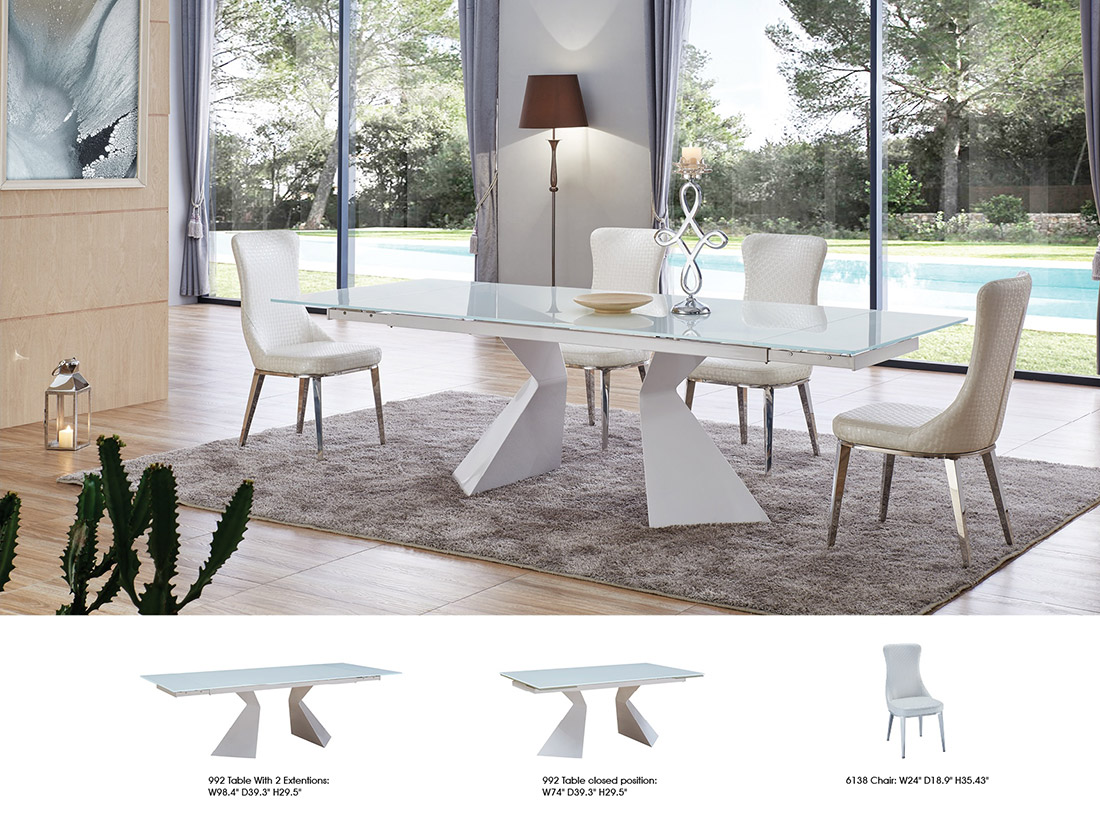 Glass Top Extendable Dining Table EF Modern Dining - Glass top extendable dining room table