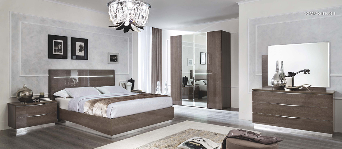 Silver High Gloss Bedroom EF Leena Silver