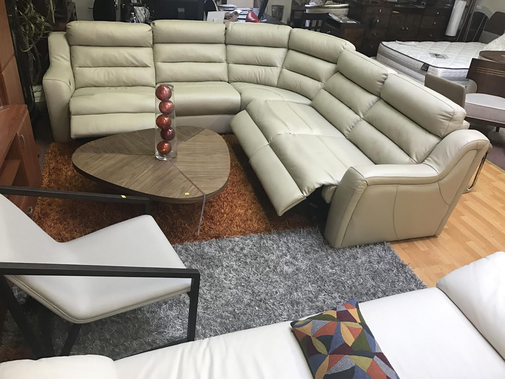 Kuka Sectional Sofa Leather Recliner Beige ...