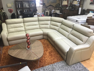 Kuka sectional sofa leather Recliner beige | Leather ...
