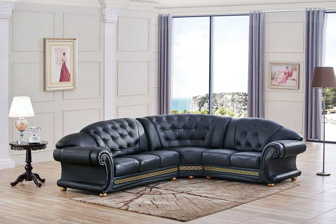 Black Leather Sectional Sofa EF Ares