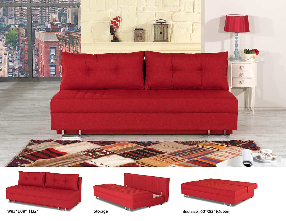 Red Fabric Sofa Bed Lavana Beds